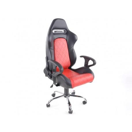Silla oficina con reposabrazos Detroit sports seats, piel negro / rojo, 2nd Hand