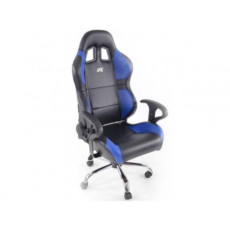 Phoenix Silla oficina deportiva con reposabrazos, negro piel / azul, 2nd Hand