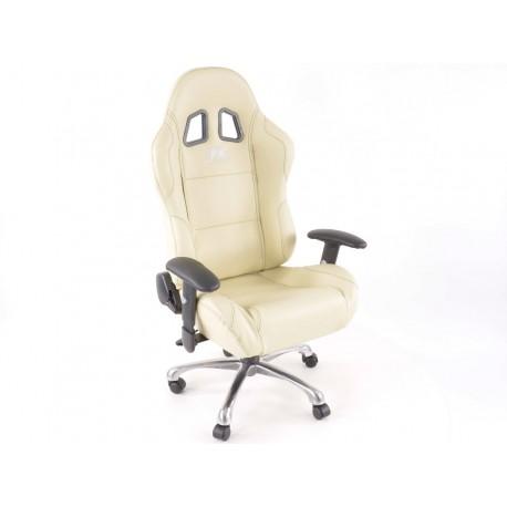 Silla oficina deportiva con reposabrazos, piel beige, negro seam