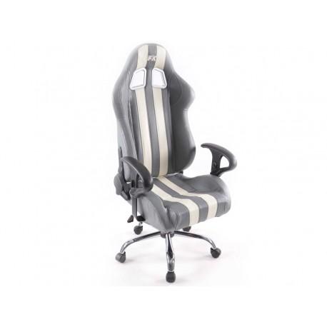 Silla oficina deportiva sin reposabrazos piel sintetica gris/blanca