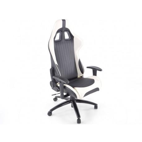 Silla oficina gaming con reposabrazos piel sintetica blanca/negro