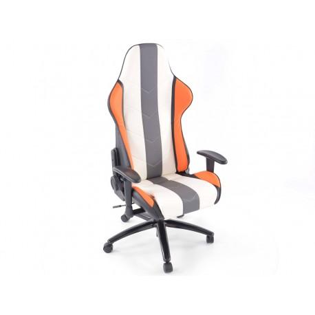 Silla oficina gaming con reposabrazos piel sintetica naranja/blanca/gris