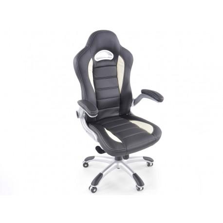 Silla oficina piel sintetica negro/blanca con reposabrazos ajustables
