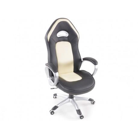 Silla oficina piel sintetica net negro/beige con reposabrazos