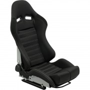 Asiento deportivo BS5 - Black/Grey - Dual-side reclinable fibreglass back-rest - incl. correderas